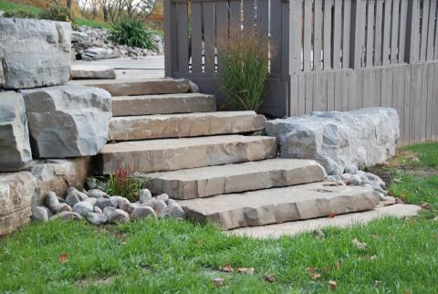 Stone steps to the deck